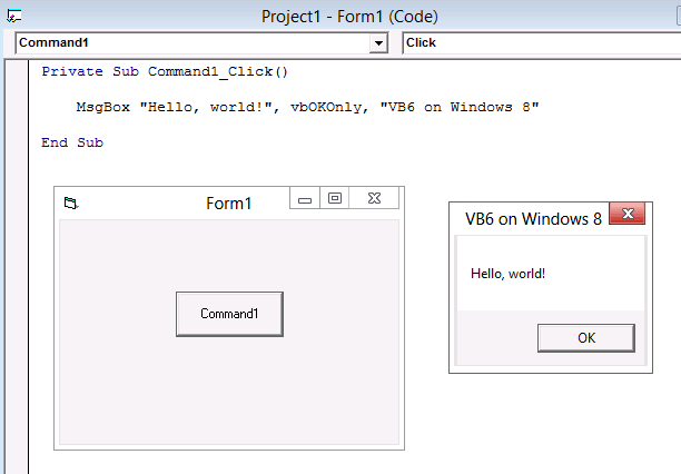 Program built with Visual Basic 6 running on Windows 8