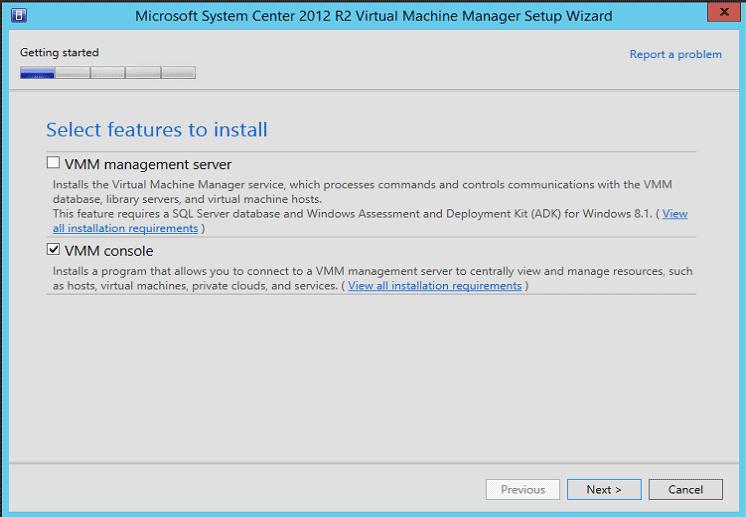 Install SCVMM console on Veeam server