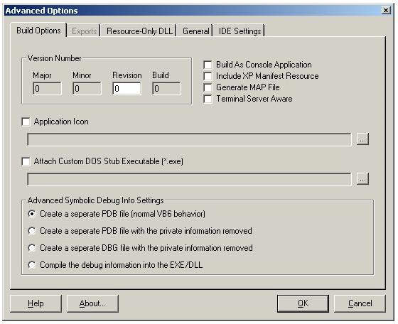 vbAdvance Build Options Screen
