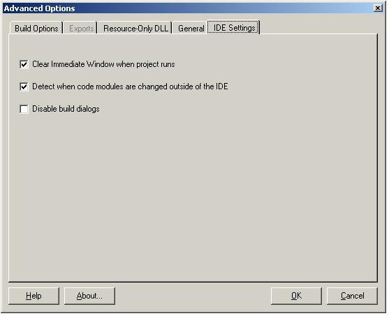 vbAdvance IDE Settings Tab